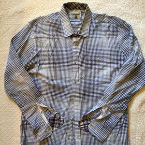 Express Fitted 1MX Shirt Blue Plaid Print Sz XL